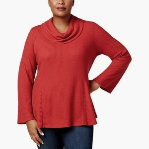 NWT Style & Co Macy's Waffle Cowl Bell Sleeves Top